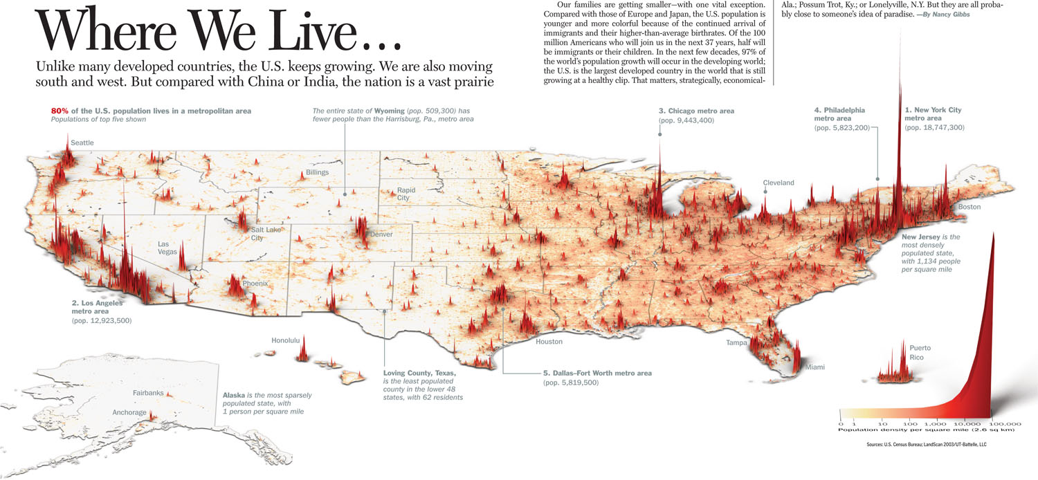 A Topographicstyle Population Density Map Of The US - Us map with population